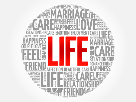 LIFE circle word cloud collage concept