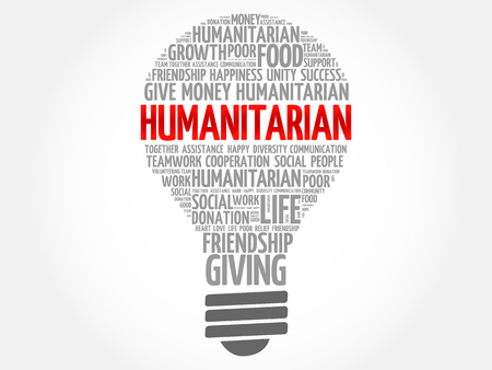 Humanitarian bulb word cloud collage concept Illustration
