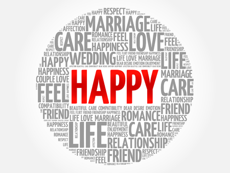 Happy circle word cloud collage concept Illustration