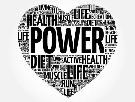 POWER heart word cloud, fitness, sport, health concept Illustration