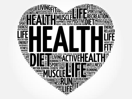 HEALTH heart word cloud, fitness, sport, health concept