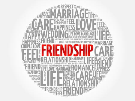 Friendship circle word cloud collage concept Ilustração