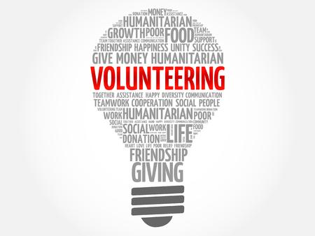 Volunteering bulb word cloud collage concept