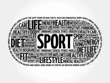 SPORT word cloud collage, fitness, health concept Illustration