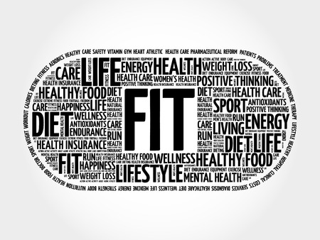 FIT pill word cloud collage, health concept background