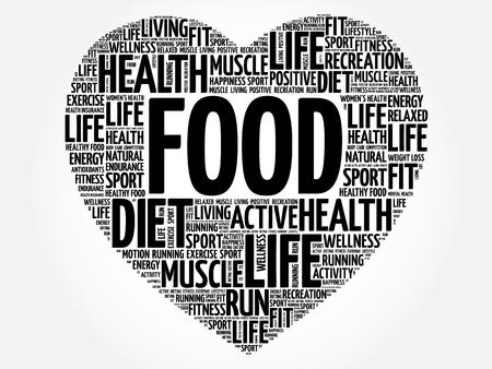 FOOD heart word cloud, fitness, sport, health concept Illustration