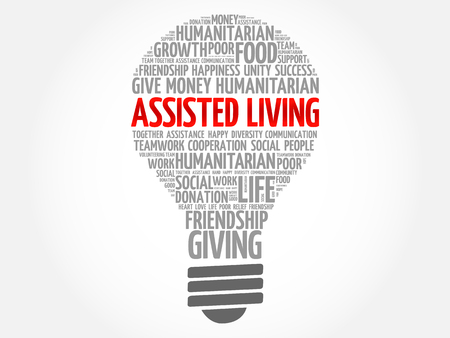 Assisted Living bulb word cloud collage concept Иллюстрация