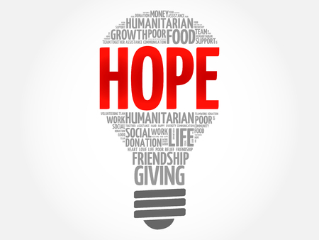 HOPE bulb word cloud collage concept