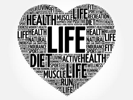 LIFE heart word cloud, fitness, sport, health concept Illustration