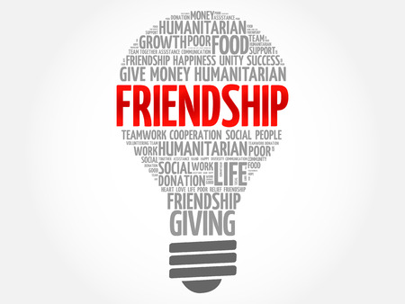 Friendship bulb word cloud collage concept Illustration