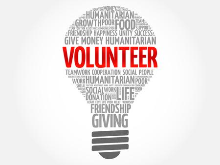Volunteer bulb word cloud collage concept