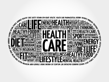 Health care medical pill word cloud, health concept background
