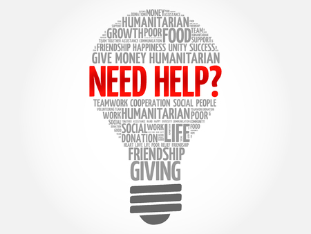 Need help? bulb word cloud collage concept