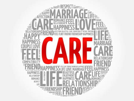 CARE circle word cloud collage concept