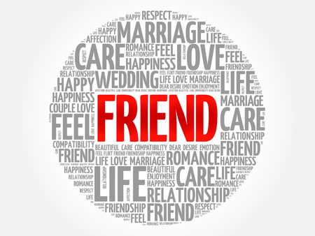 Friend circle word cloud collage concept