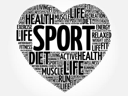 SPORT heart word cloud, fitness, health concept