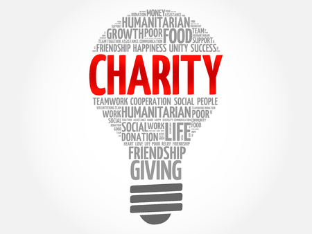 Charity bulb word cloud collage concept