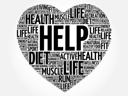 HELP heart word cloud, fitness, sport, health concept Illustration