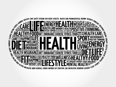 Health word cloud collage, fitness, health concept background