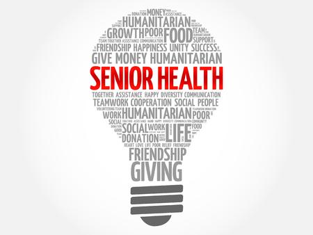 Senior health bulb word cloud collage concept Illustration