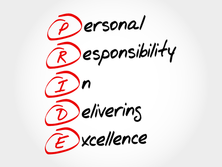 PRIDE - Personal Responsibility In Delivering Excellence, acronym concept
