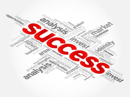 Collage de nuage de mots de succès, arrière-plan de concept d'entreprise Vecteurs