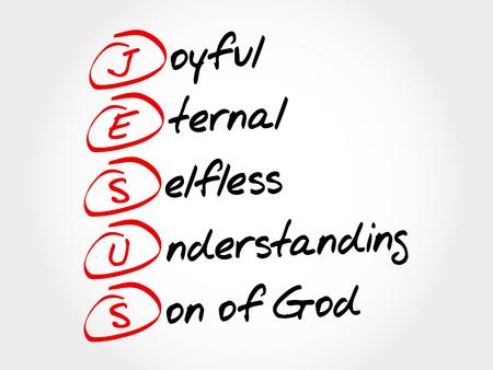 JESUS - Joyful Eternal Selfless Understanding Son of God, acronym concept