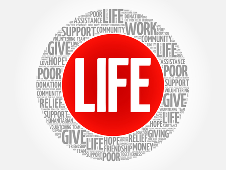 LIFE word cloud collage, concept background