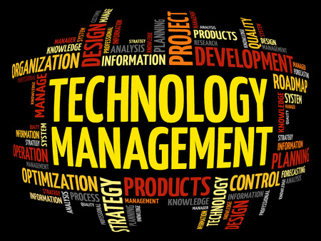 Technology Management word cloud, business concept background
