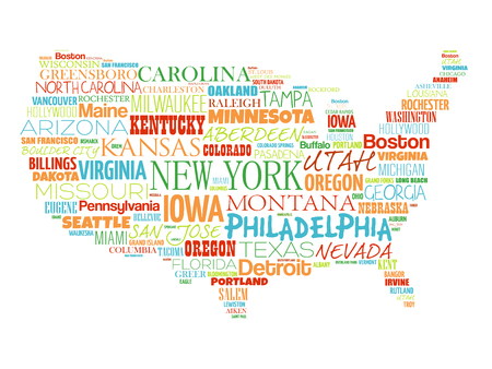 USA Map word cloud collage with most important cities Illustration
