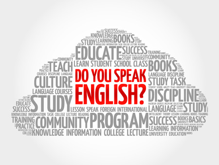 Do You Speak English? word cloud, education business concept Vettoriali
