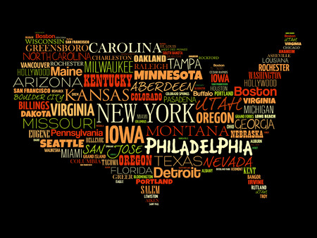 USA Map word cloud collage with most important cities 向量圖像