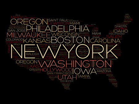 USA Map word cloud collage with most important cities 일러스트