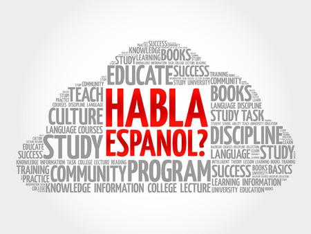 Habla Espanol? (Parler espagnol?) Nuage de mot, concept d'entreprise de l'éducation