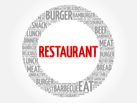 RESTAURANT word cloud, fast food concept Illustration