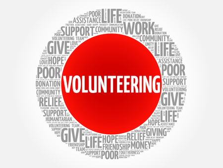 Volunteering word cloud collage, concept background