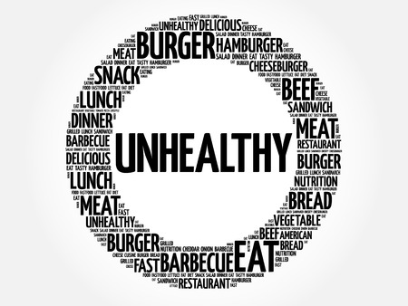 UNHEALTHY word cloud collage, fast food concept background Illusztráció