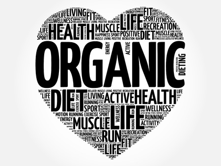 ORGANIC heart word cloud, fitness, sport, health concept