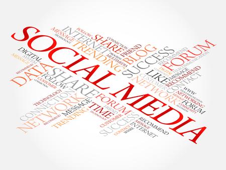 소셜 미디어 단어 구름 콜라주, 비즈니스 개념 배경
