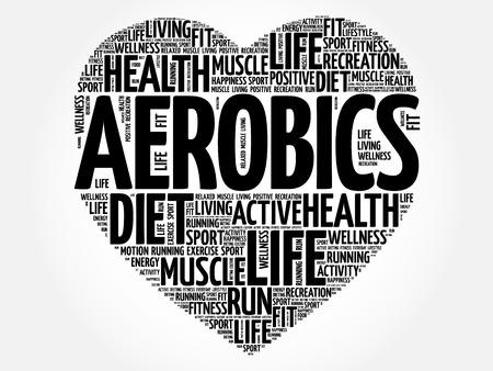 Aeróbicos corazón palabra nube, fitness, deporte, concepto de salud