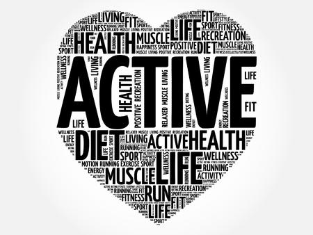 ACTIVE heart word cloud collage, fitness, sport, health concept 일러스트
