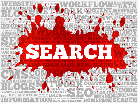 SEARCH word cloud collage, technology business concept background Çizim