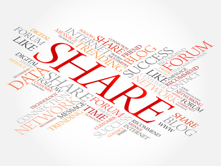 Share word cloud, technology business concept background