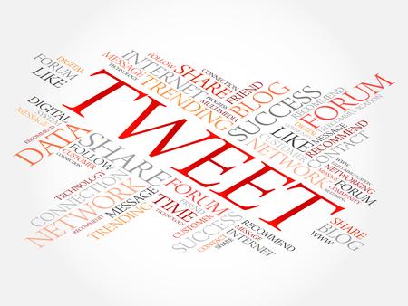 TWEET word cloud collage, business concept background Ilustração