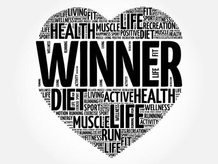 Winner heart word cloud, fitness, sport, health concept