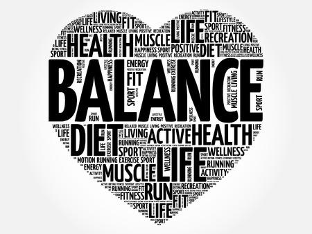 BALANCE corazón palabra nube, fitness, deporte, concepto de salud
