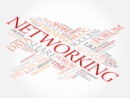 Networking word cloud collage, business concept background Illustration
