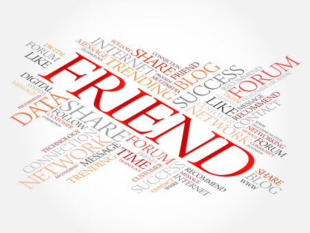 Friend word cloud, technology business concept background