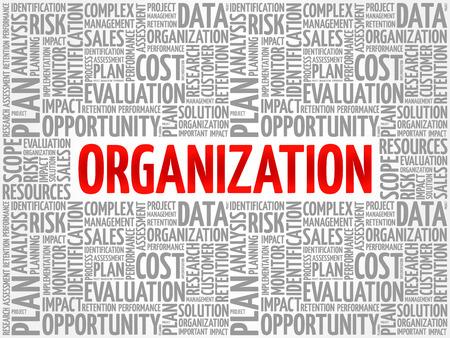 Organisationswortwolkencollage, Geschäftskonzepthintergrund Vektorgrafik