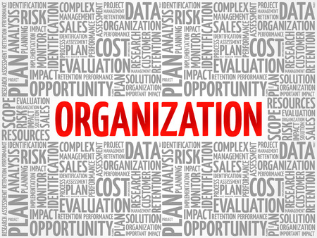 Organization word cloud collage, business concept background Ilustração Vetorial